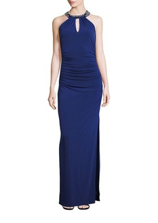 Laundry by Shelli Segal Embellished Neck Front-Keyhole Gown