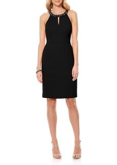 Laundry by Shelli Segal Embellished Neck Sheath Dress
