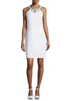 Laundry By Shelli Segal Embellished-Neck Sheath Dress