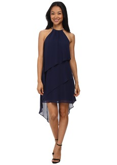 Laundry by Shelli Segal Embellished Neck Tiered Asymmetrical Hem Dress