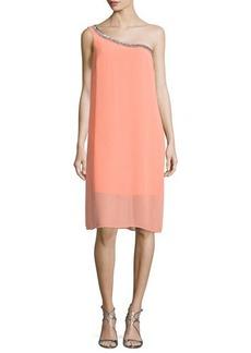 Laundry by Shelli Segal Embellished One-Shoulder Shift Dress
