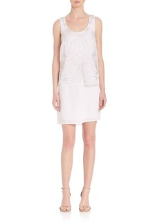 Laundry by Shelli Segal Embellished Popover Chiffon Dress