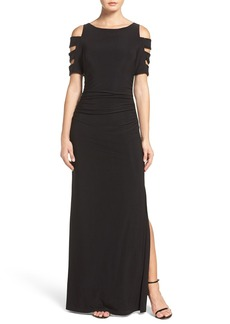 Laundry by Shelli Segal Embellished Sleeve Jersey Gown