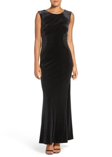 Laundry by Shelli Segal Embellished Stretch Velvet Gown