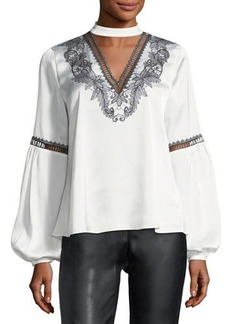 Laundry By Shelli Segal Embroidered Balloon-Sleeve Blouse