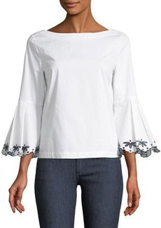 Laundry By Shelli Segal Embroidered Bell-Sleeve Blouse