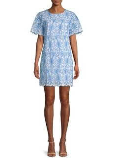 Laundry by Shelli Segal Embroidered Eyelet Cotton Shift Dress