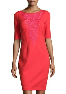 Laundry by Shelli Segal Embroidered Half-Sleeve Ponte Dress