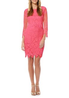 Laundry by Shelli Segal Embroidered Mesh Sheath Dress