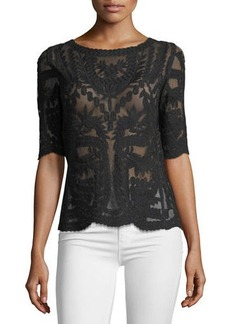 Laundry By Shelli Segal Embroidered Mesh Top
