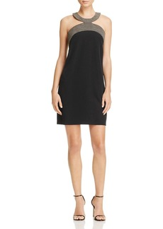 Laundry by Shelli Segal Embroidered Neck Dress