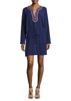 LAUNDRY BY SHELLI SEGAL Embroidered Tie-Waist Dress