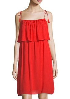 Laundry By Shelli Segal Embroidered-Trim Gauze Dress