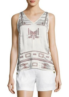 Laundry By Shelli Segal Embroidered V-Neck Tank