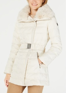 Laundry by Shelli Segal Faux-Fur-Collar Asymmetrical Puffer Coat