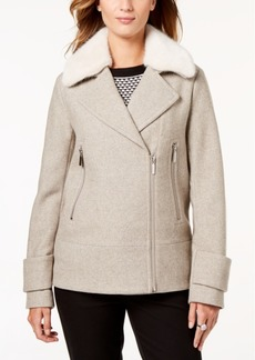 Laundry by Shelli Segal Faux-Fur-Collar Coat
