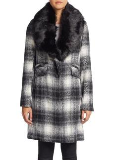 Laundry by Shelli Segal Faux Fur-Collar Plaid Wool-Blend Coat