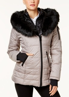 Laundry by Shelli Segal Faux-Fur-Collar Puffer Coat