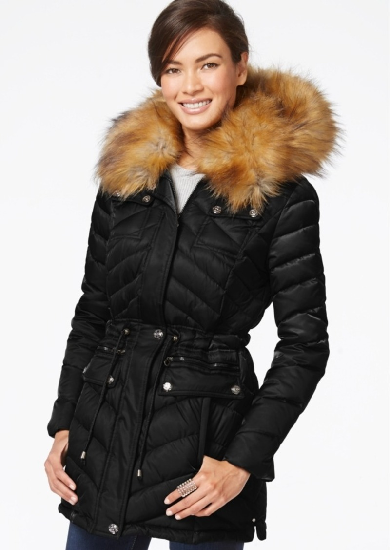 Laundry by Shelli Segal Faux-Fur-Collar Puffer Down Coat