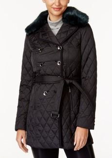 Laundry by Shelli Segal Faux-Fur-Collar Quilted Coat