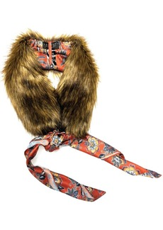 Laundry by Shelli Segal Faux Fur Collar With Removable Floral Print Scarf