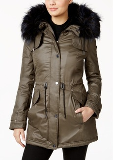 Laundry By Shelli Segal Faux-Fur-Trim Anorak Coat