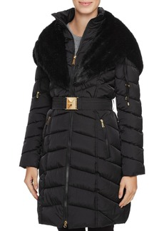 Laundry by Shelli Segal Faux Fur Trim Belted Down Coat
