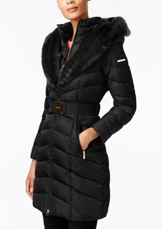 Laundry by Shelli Segal Faux-Fur-Trim Belted Down Coat