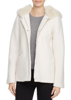 Laundry by Shelli Segal Faux Fur Trim Coat