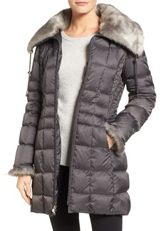 Laundry by Shelli Segal Faux Fur Trim Down & Feather Coat