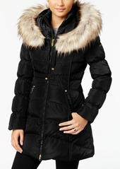 Laundry by Shelli Segal Faux-Fur-Trim Hooded Puffer Coat