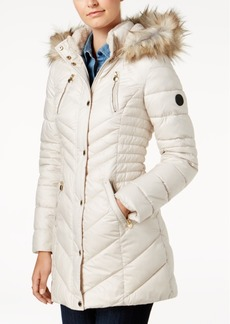 Laundry by Shelli Segal Petite Faux-Fur-Trim Hooded Puffer Coat