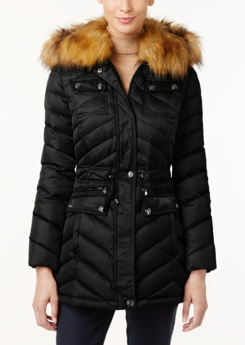 Laundry by Shelli Segal Faux-Fur-Trim Hooded Down Puffer Coat
