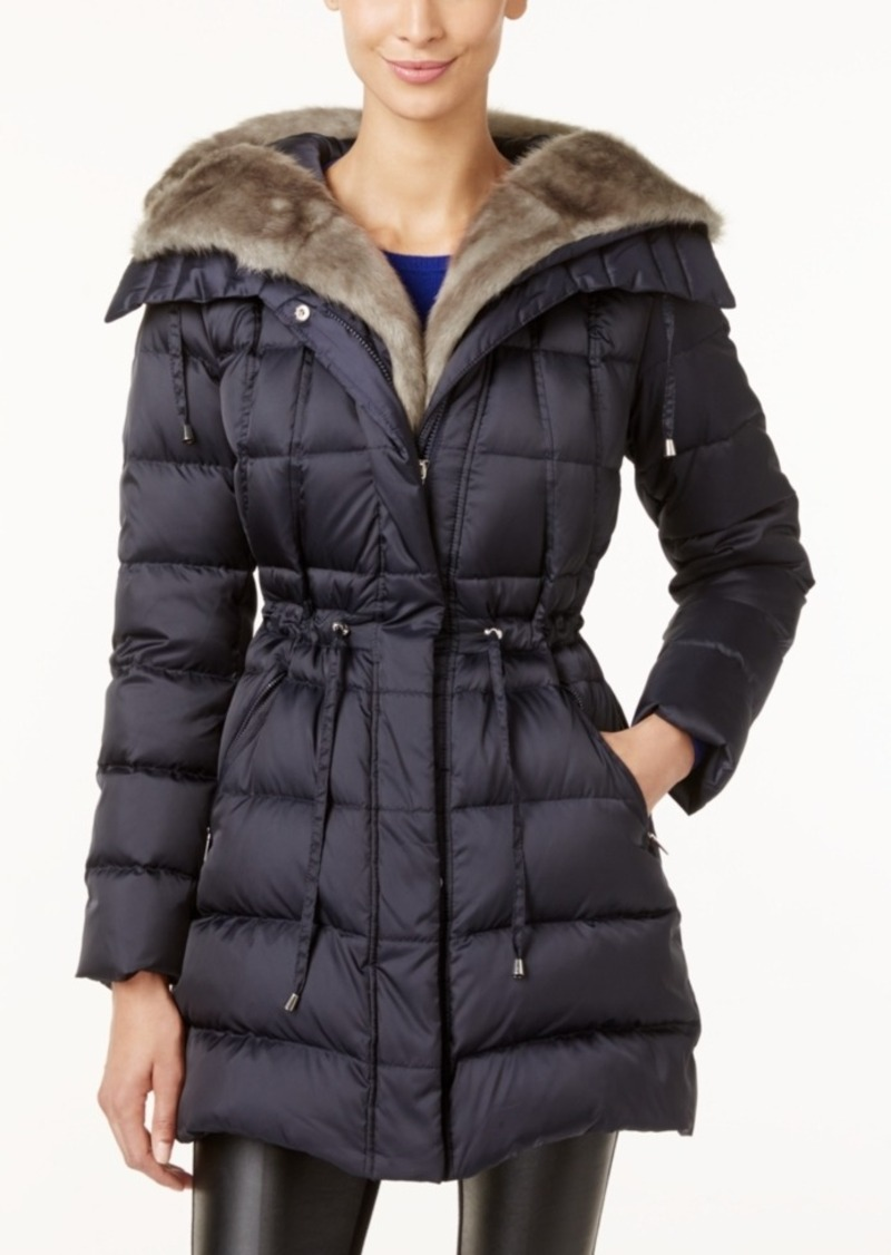 Laundry by Shelli Segal Faux-Fur-Trim Hooded Puffer Coat, Only at Macy's