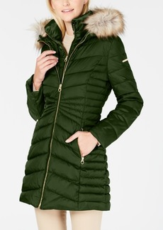 Laundry by Shelli Segal Faux-Fur-Trim Hooded Quilted-Panel Puffer Coat