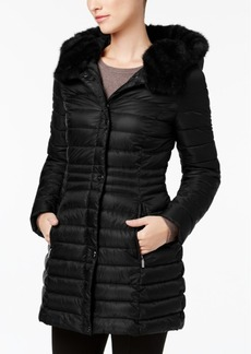 Laundry by Shelli Segal Faux-Fur-Trim Iridescent Down Coat