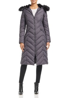 Laundry by Shelli Segal Faux Fur Trim Maxi Puffer Coat