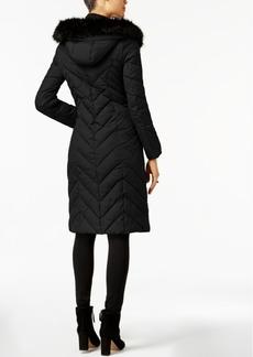 Laundry by Shelli Segal Faux-Fur-Trim Long Puffer Coat