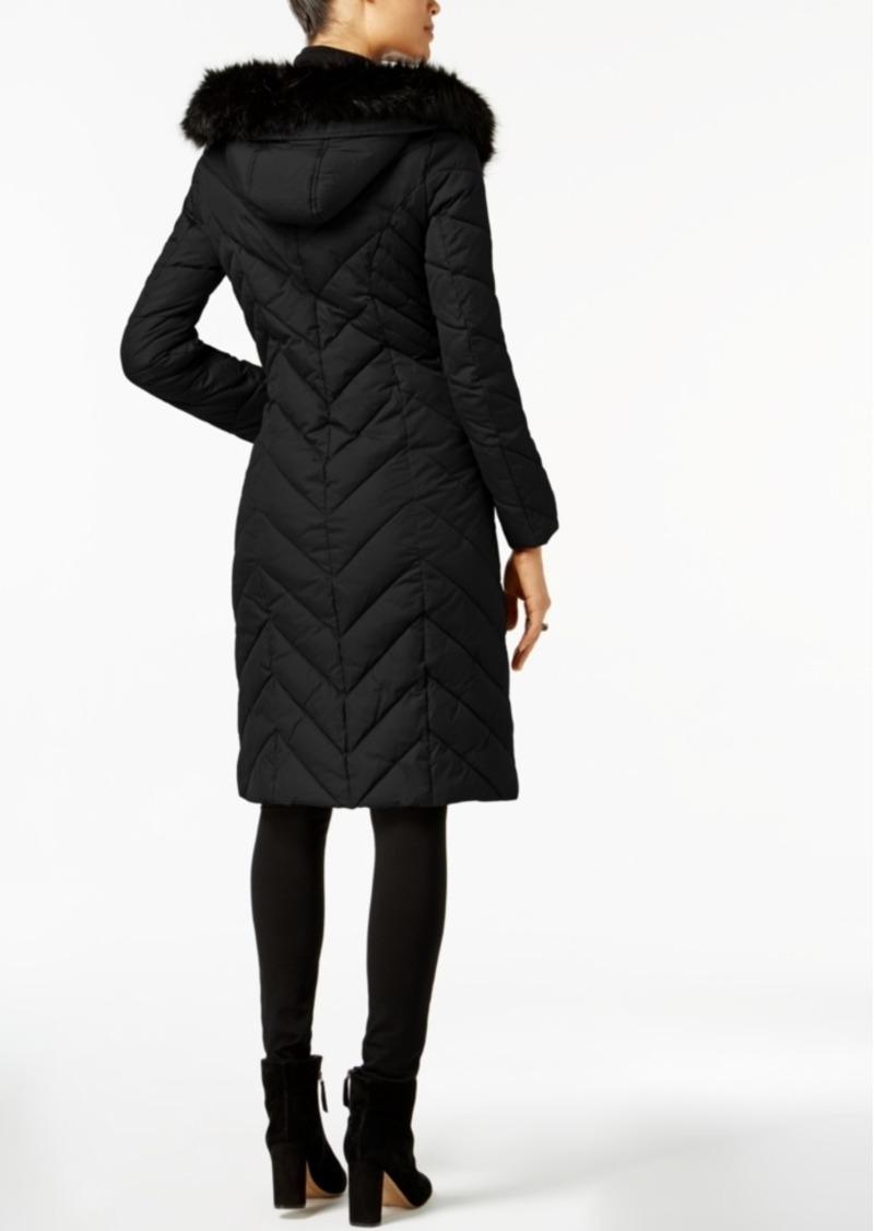6d5ee07ec72 Faux-Fur-Trim Long Puffer Coat