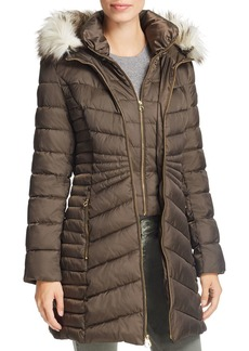 Laundry by Shelli Segal Faux Fur Trim Puffer Coat