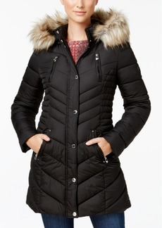 Laundry by Shelli Segal Faux-Fur-Trim Quilted Puffer Coat