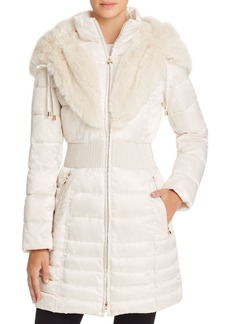 Laundry by Shelli Segal Faux Fur Trim Satin Puffer Coat
