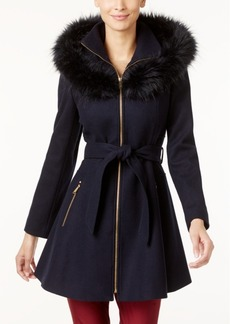 Laundry by Shelli Segal Faux-Fur-Trim Skirted Walker Coat