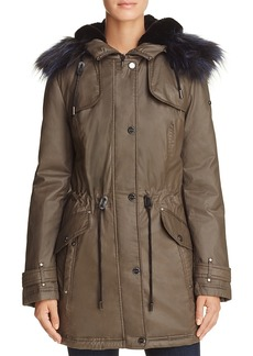 Laundry by Shelli Segal Faux Fur Trim Waxed Anorak