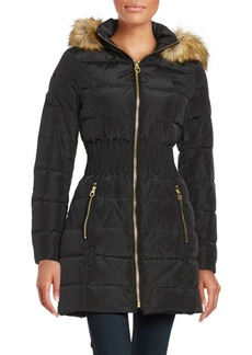 Laundry by Shelli Segal Faux Fur-Trimmed Hooded Mid Length Puffer Coat