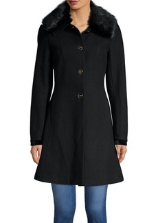 Laundry by Shelli Segal Faux Fur-Trimmed Skirted Coat