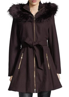 Laundry By Shelli Segal Faux Fur-Trimmed Wool Car Coat