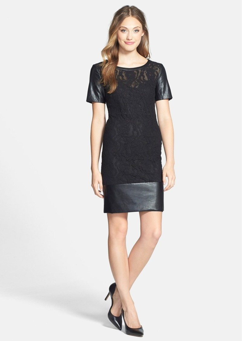 Laundry by Shelli Segal Faux Leather & Lace Sheath Dress
