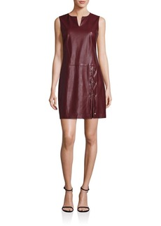 Laundry by Shelli Segal Faux Leather Lace-Up Shift Dress