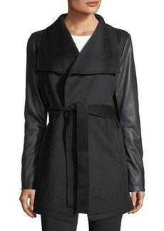 Laundry By Shelli Segal Faux-Leather Sleeve Wool Wrap Jacket